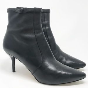 Via Spiga | Black Leather Ankle Booties Boots